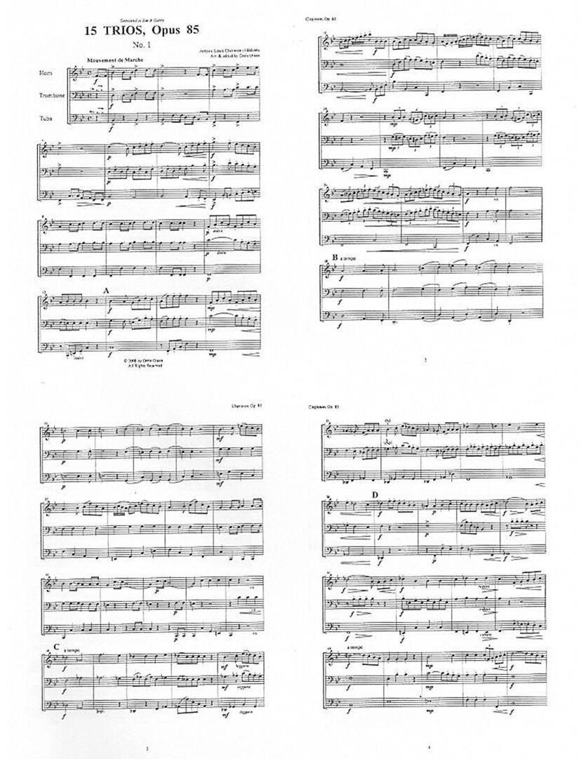 15 Trios, Opus 85 for Horn, Trombone, and Tuba by Antonie-Louis Clapisson