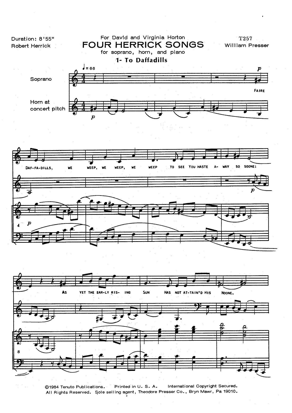Four Herrick Songs for Soprano, Horn, and Piano by William Presser