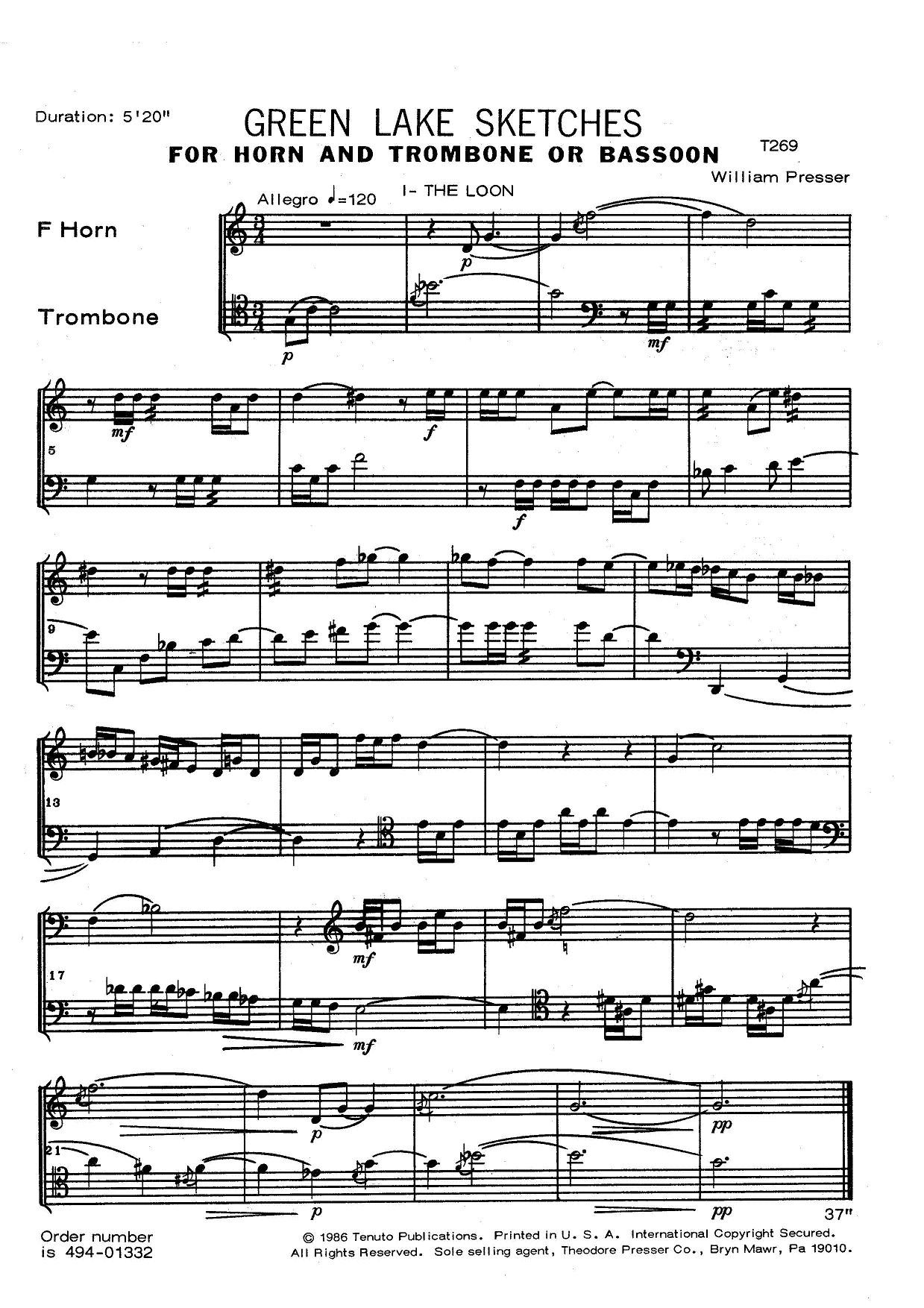 Green Lake Sketches for Horn and Trombone or Bassoon by William Presser