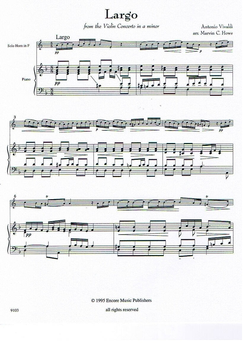 Largo from Violin Concerto in a minor for Horn and Piano
