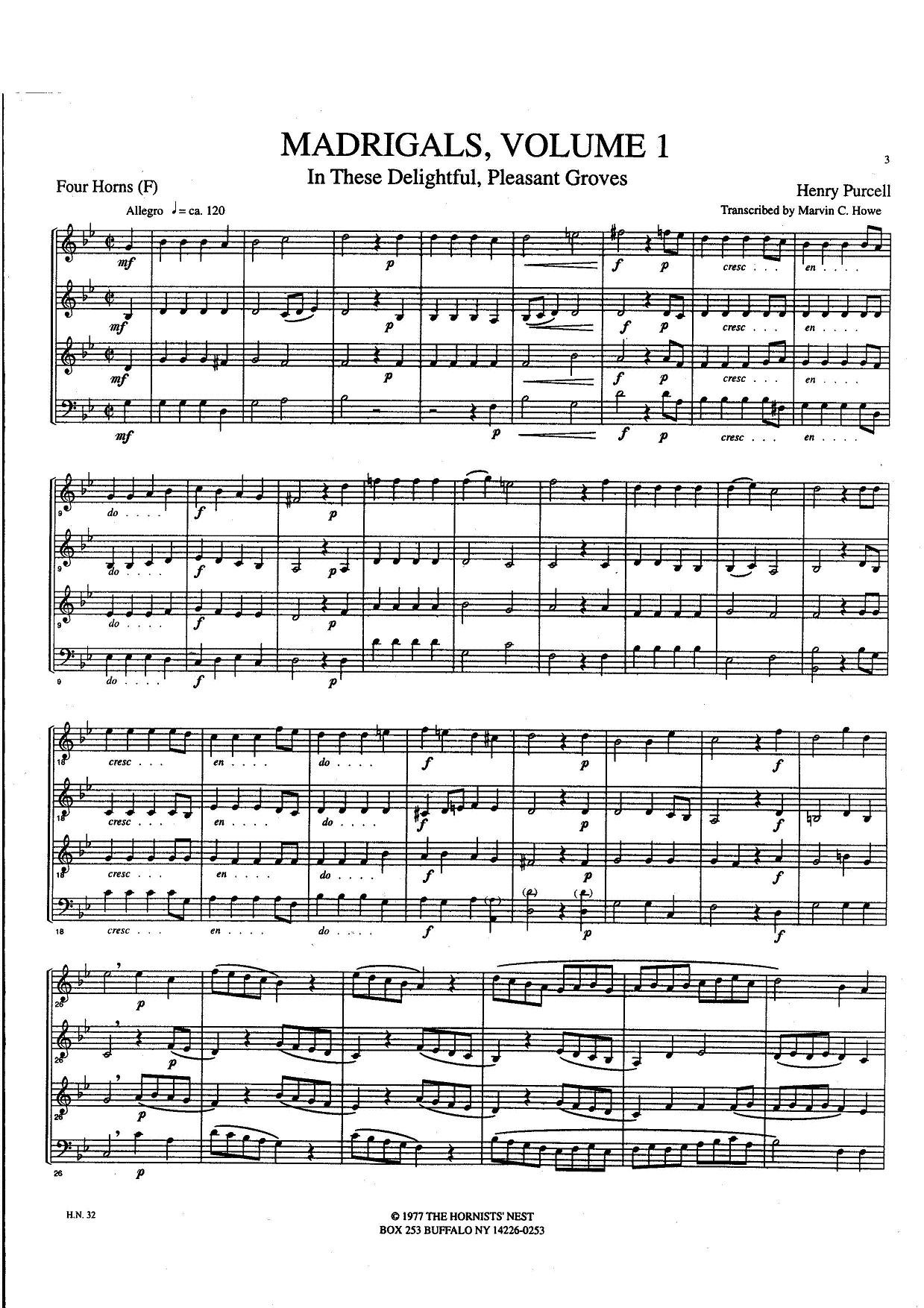 Madrigals, Vol. 1 Transcribed by Marvin C. Howe