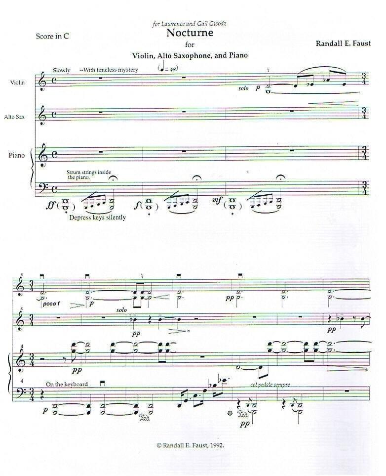 Nocturne for Alto Saxophone, Violin, and Piano (1992)