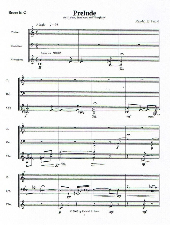 Prelude, Scherzo, Elegy and Finale for Clarinet, Trombone, and Mallet Percussion