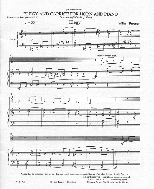 Elegy and Caprice for Horn and Piano by William Presser