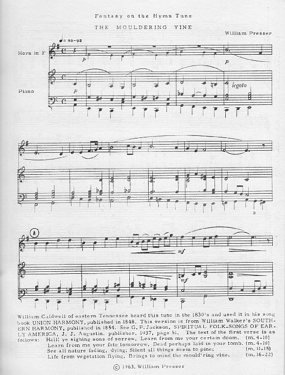 "Fantasy on the Hymn Tune ""The Mouldering Vine"" for Horn and Piano by William Presser"