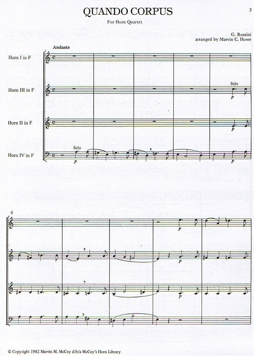 Quando Corpus for Horn Quartet