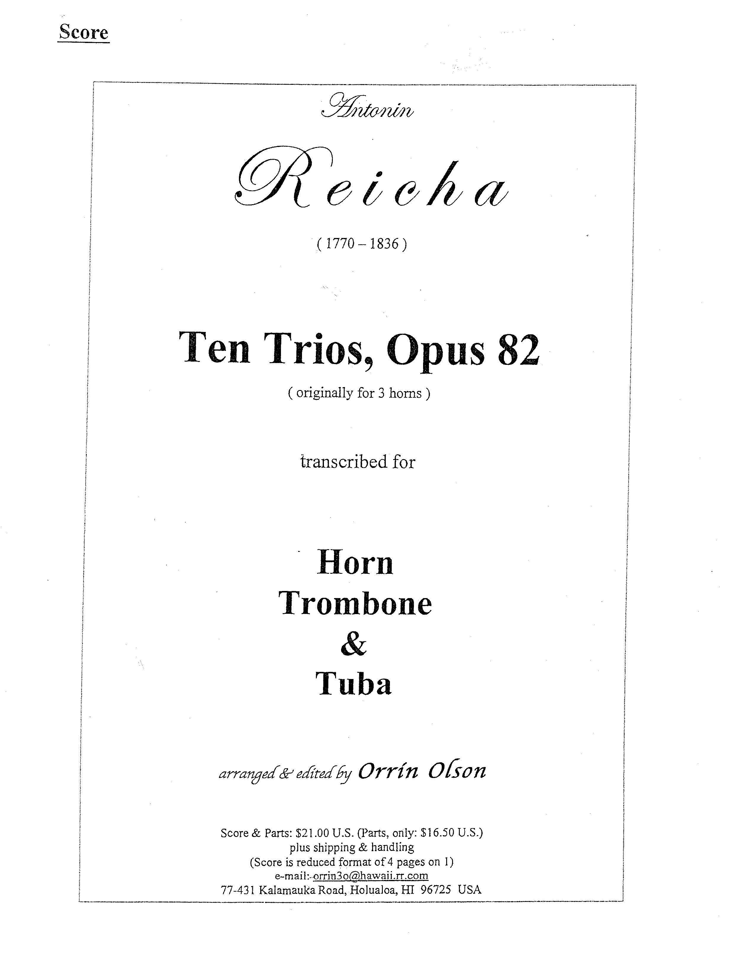 Ten Trios, Opus 82 for Horn, Trombone, and Tuba by Antonin Reicha