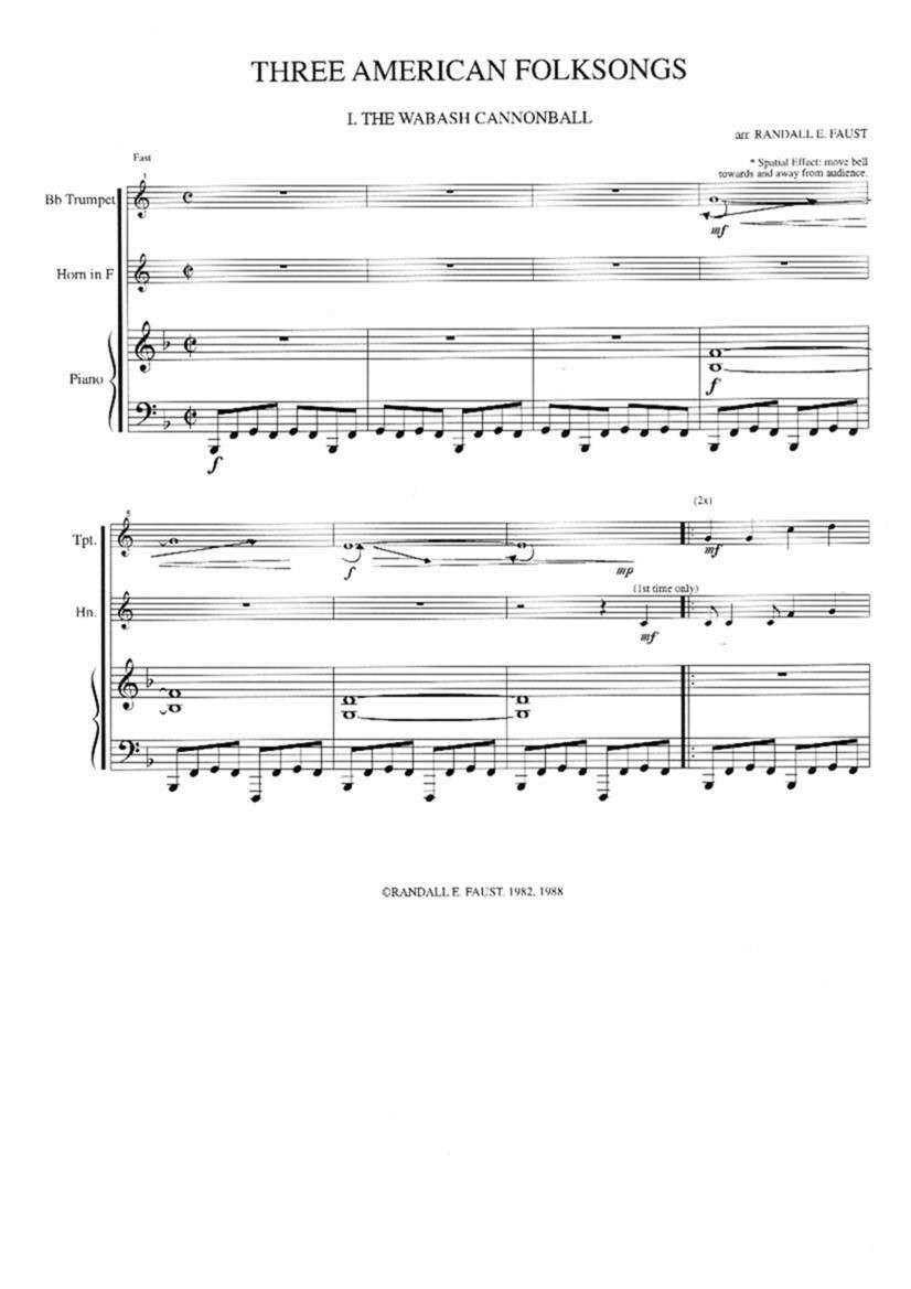 Three American Folksongs for Trumpet, Horn and Piano