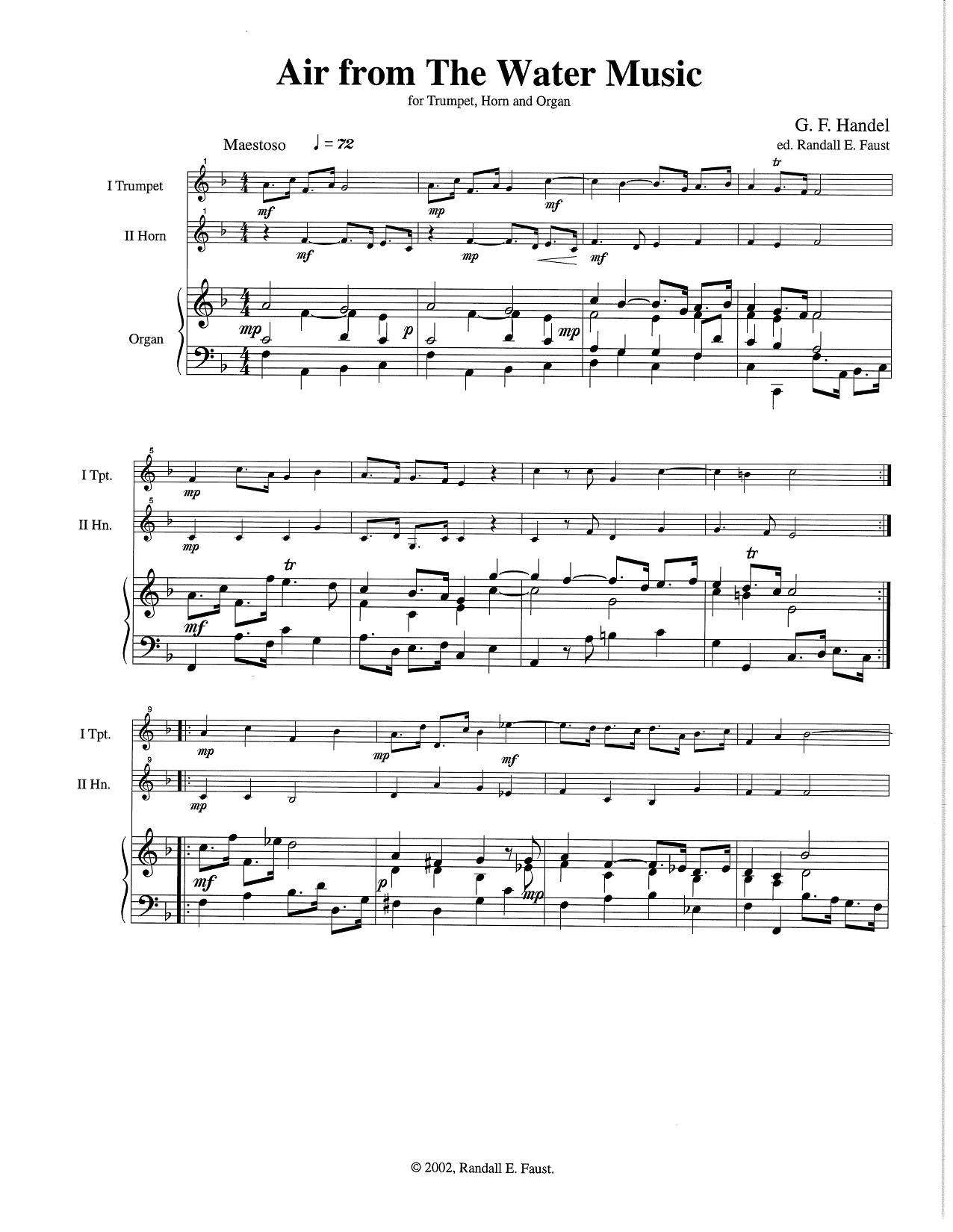 Air from The Water Music Suite for Trumpet, Horn, and Organ