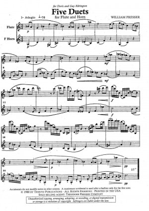 Five Duets for Flute and Horn by William Presser