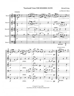 Sarabande from The Holberg Suite by Edvard Grieg arranged for Horn Quintet or Horn Choir by Marvin C. Howe