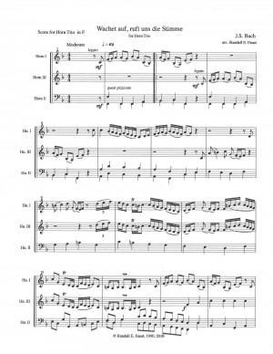 Wachet auf, ruft uns die Stimme, J. S. Bach arranged for Horn Trio by Randall Faust (2018)