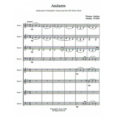 Andante for Horn Octet by Thomas Jöstlein.