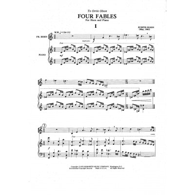 Four Fables for Horn and Piano by Judith Olson