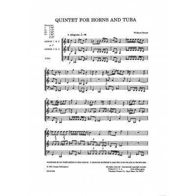 Quintet for Horns and Tuba by William Presser