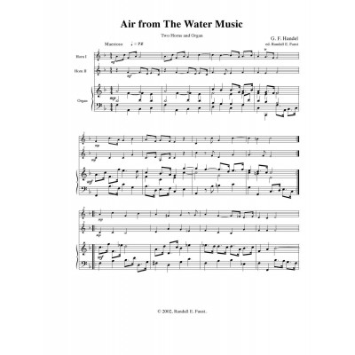 Air from The Water Music for 2 Horns and Organ